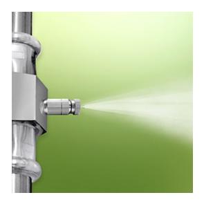 ugelli nebulizzatori, opportunamente posizionati lungo il perimetro dell'area da trattare in siepi, aiuole, cespugli, pozzetti o luoghi che possano favorire la proliferazione delle zanzare.
